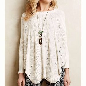 Anthropologie Mirabelle Stitched Poncho Sweater